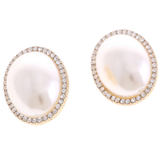 GOLD ROUND PEARL CLEAR STONE CLIP ON EARRINGS ( 03727 )