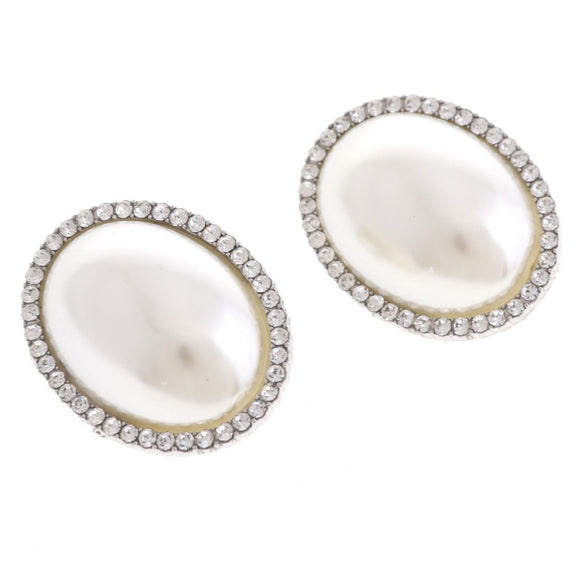 SILVER ROUND PEARL CLEAR STONE CLIP ON EARRINGS ( 03727 )