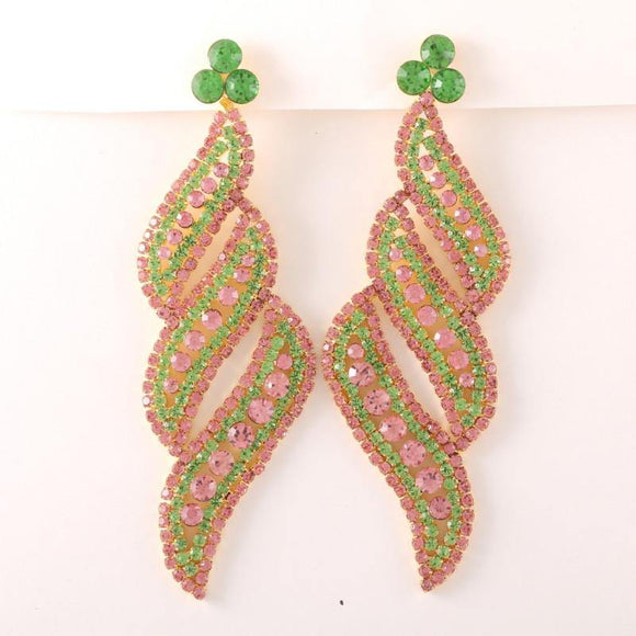 PINK GREEN Stone Swirl Design PIERCE Chandelier Earrings ( 0592 )