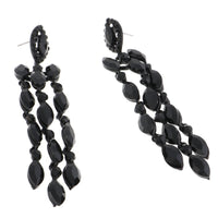 BLACK CHANDELIER EARRINGS WITH BLACK STONES ( 2336 )
