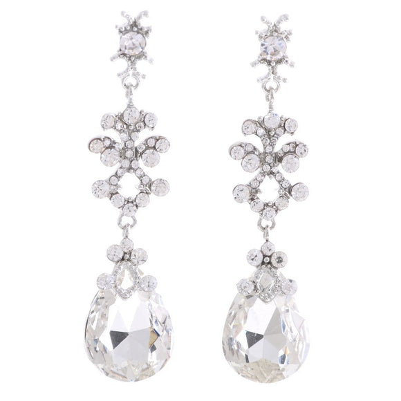 DANGLING SILVER EARRINGS WITH CLEAR STONES ( 2357 )