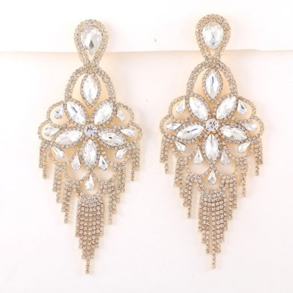 GOLD CHANDELIER EARRINGS CLEAR STONES ( 7629 )