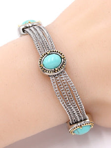 Two Tone Turquoise Oval Stone Bracelet Rhodium Plated ( 719 )