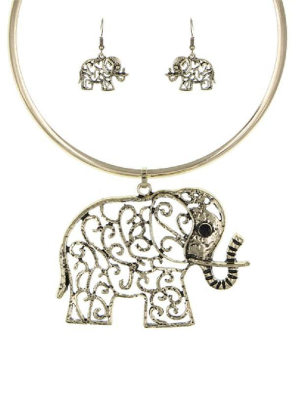 GOLD CHOKER NECKLACE SET ELEPHANT ( 3640 G )