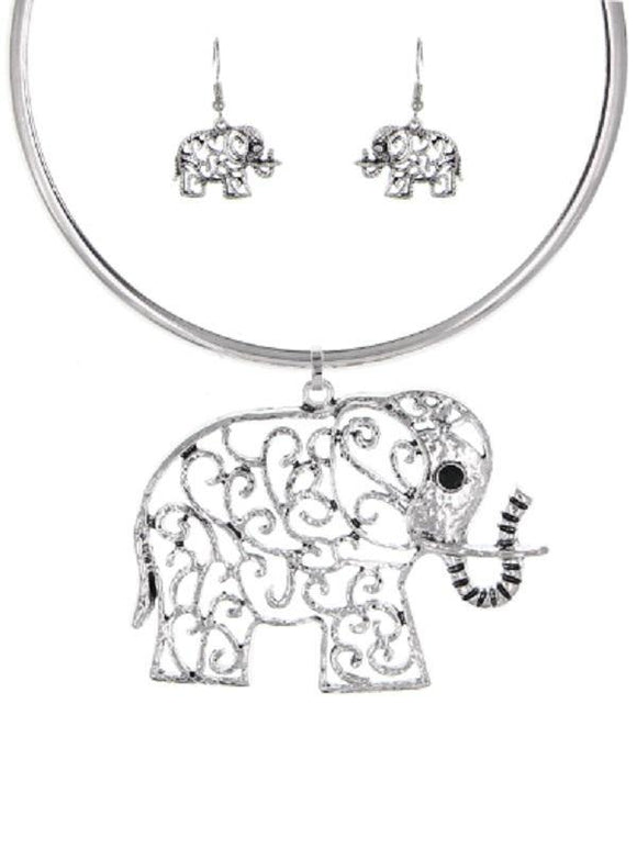 SILVER CHOKER NECKLACE SET ELEPHANT ( 3640 S )