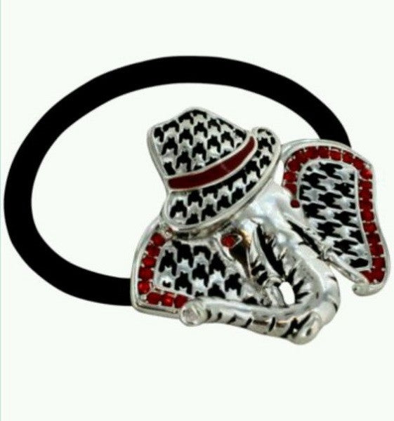 Houndstooth Elephant with Red Rhinestones Hair Tie