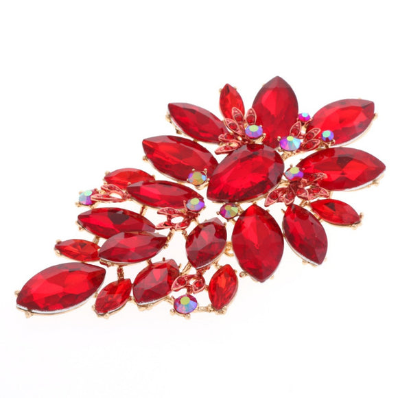 LARGE GOLD RED STONES BROOCH ( 10515 )