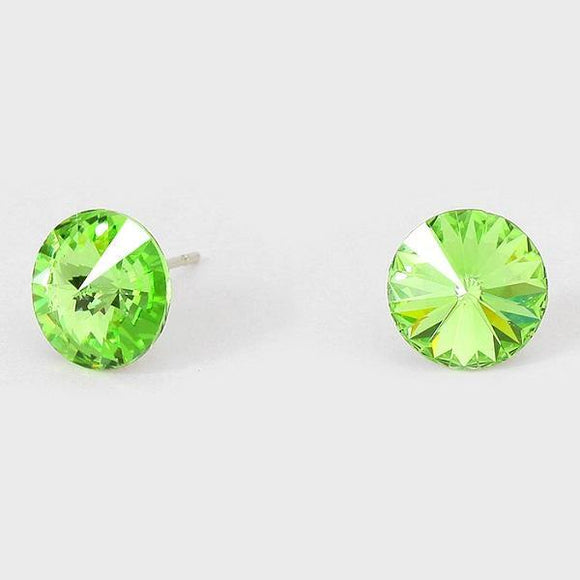 11mm Lime Green Crystal Stud Earrings ( 03 )