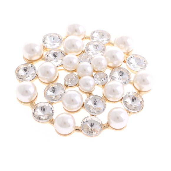GOLD BROOCH WITH CLEAR STONES CREAM PEARLS ( 1370 )