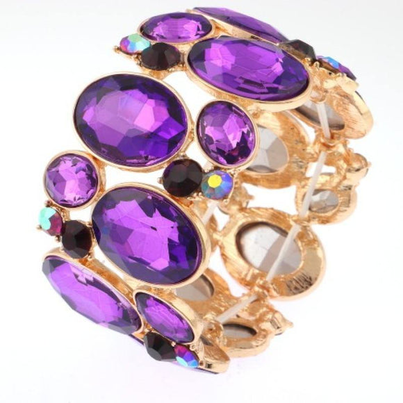 GOLD AND PURPLE STRETCH BANGLE ( 6 )