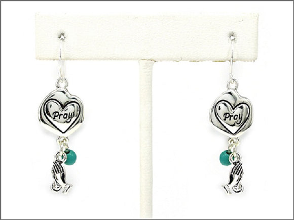 SILVER CIRCLE PRAY EARRINGS TURQUOISE ( 1472 )