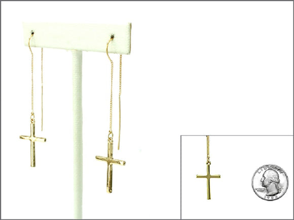 GOLD DANGLING CROSS EARRINGS ( 1682 )