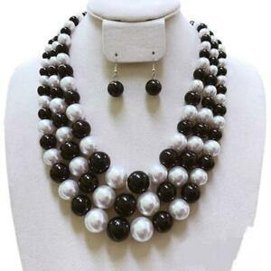 BLACK WHITE 3 Layer Graduating Pearl Necklace ( 0058 BKWT )