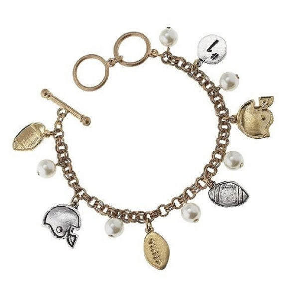 GOLD BRACELET FOOTBALL CHARMS ( 8696 )