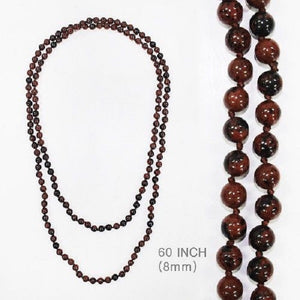 "Brown Semi-Precious Stone 60"" Long Beaded Necklace ( 331 )"