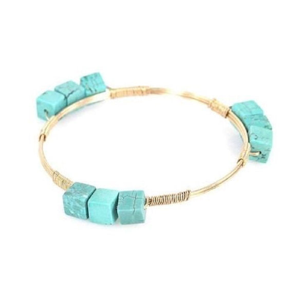 Gold Wire Bangle with Square Turquoise Stones ( 0215 )