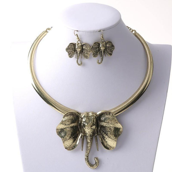 Large Gold Elephant Head Necklace with Trunk Earrings ( 3852 )