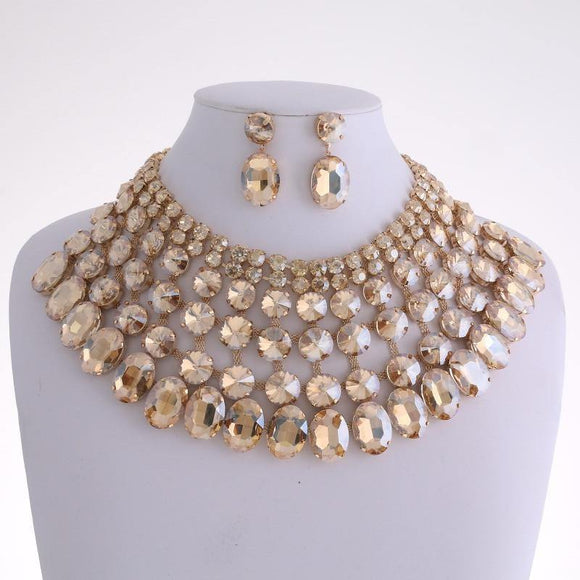 Gold and Large TOPAZ Stone Bib Style Evening Necklace Set ( 2062 LTOP )