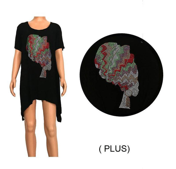 3/4 SLEEVE BLACK SHIRT WOMAN CAMEO MULTI COLOR STONES PLUS SIZE ( 0071 )