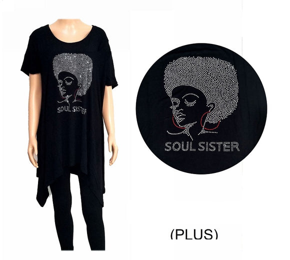 BLACK SHIRT WOMAN CAMEO SOUL SISTER CLEAR STONES PLUS SIZE ( 0010 )