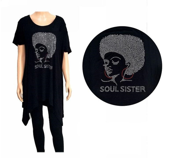 BLACK SHIRT WOMAN CAMEO SOUL SISTER CLEAR STONES Reg SIZE ( 0010 )