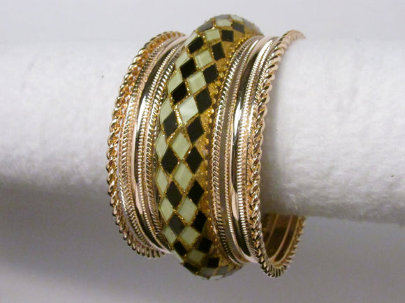 11 LAYER GOLD AND BLACK BANGLE SET