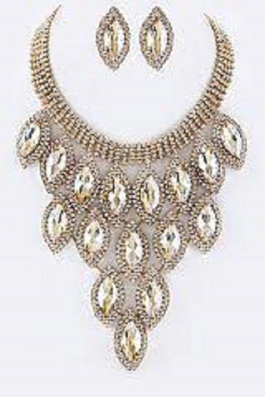 Gold and Topaz Marquise Pave Statement Necklace with Stud Earrings ( 9029 )