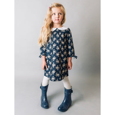 Navy Floral Pintuck Dress