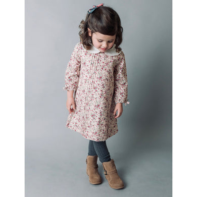 Girls Pink Floral Pintuck Dress