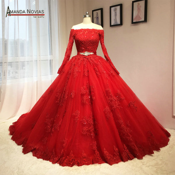2016 Newest Red Wedding Dress Puffy Ball Gown Long Sleeves Patterns - icstuff