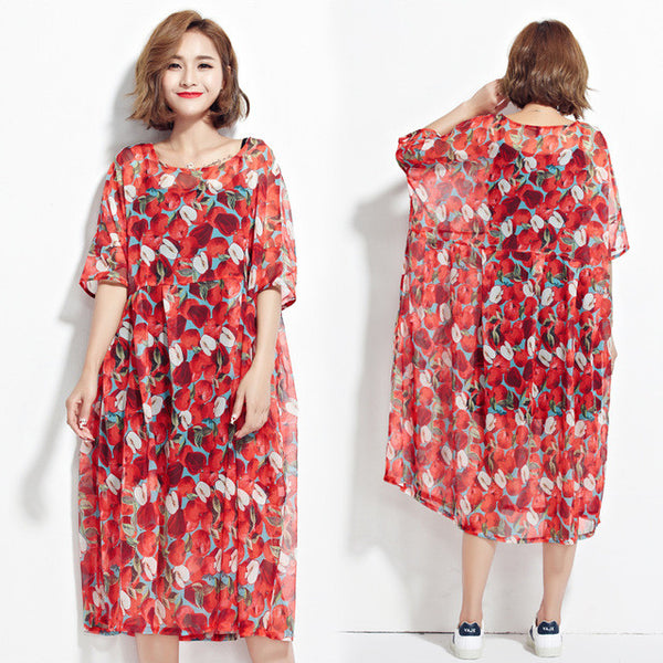 DIMANAF Women Summer Style Dress Plus Size Chiffon Apple Print Holiday Beach Female Casual Draped Fashion Perspective Dresses