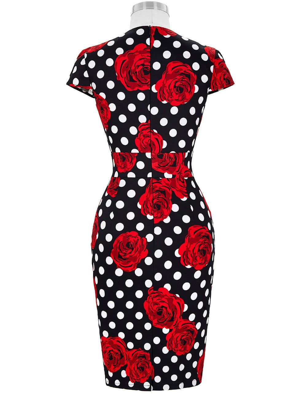 Sexy Women Dress Robe Retro Vintage Cap Sleeve Hips-Wrapped Slim Fitted Office Dress Floral Patterns Sheath Bodycon Pencil Dress