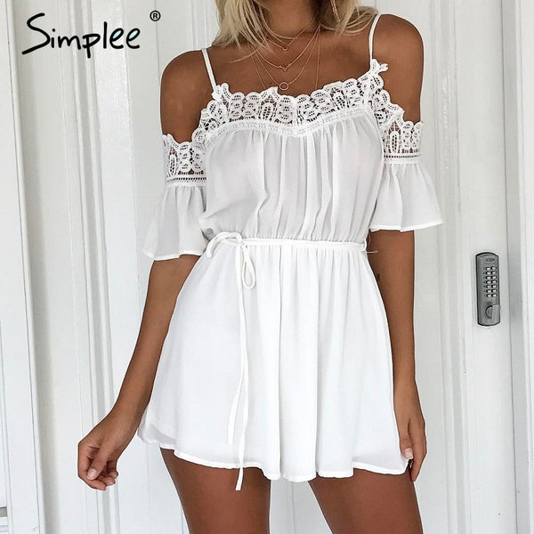 Simplee Casual white lace off shoulder jumpsuit romper Summer beach flare sleeve playsuit Women sexy slim soft chiffon overalls