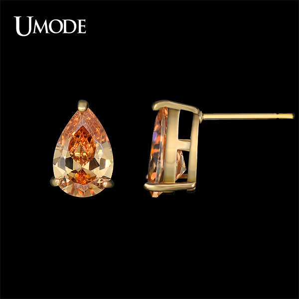 UMODE Best Gifts Single Teardrop Champagne Color CZ Stone Gold Color Stud Earrings Jewelries for Ladies or Girls Fashion UE0150