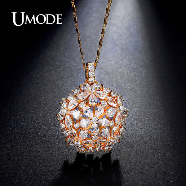 Umode Cluster Flower Design Pear And Round Cut Cz Crystal Gold