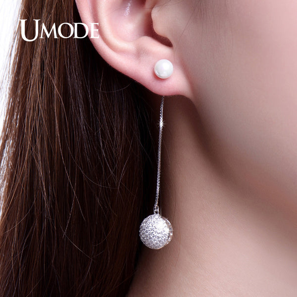 UMODE Elegant Simulated Pearl Jewelry Long Drop Earrings Half Hollow Half Paved Ball Dangle Earrings for Women Female New UE0223
