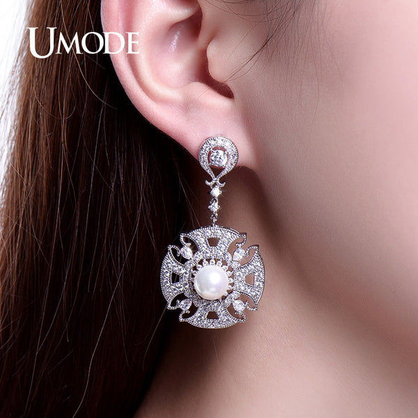 UMODE Ethnic Luxury Created Pearl Dangle Earrings for Women White Gold Color Long Earrings Hot Jewelry Best Gifts for Mom UE0220