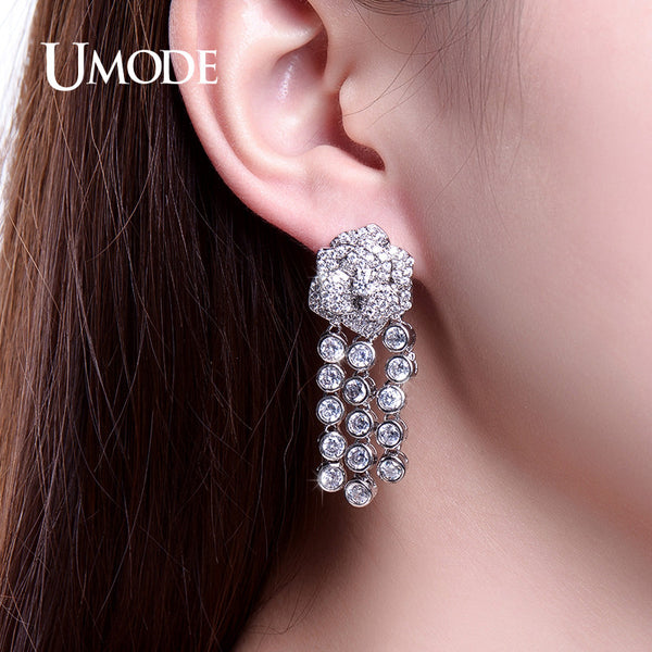 UMODE Fantastic Flower Designed Christmas Gifts Drop Earrings Zirconia Dangle Tassel Earrings Jewelry for Women Brinco UE0229