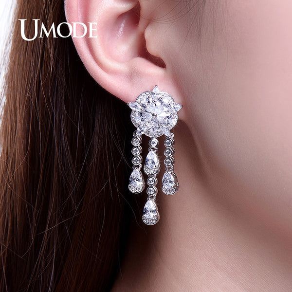 UMODE Flower Tassel Design Drop Earrings Fashion Cubic Zirconia Women Dangle Earings Gifts Orecchini Donna UE0235