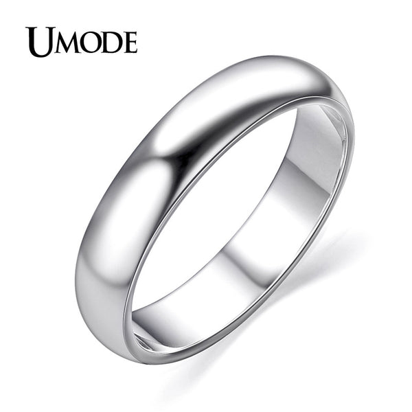 UMODE For Man and Woman Aneis Anel Feminino Anelli White Gold Color High Polish Wedding Band JR0097B