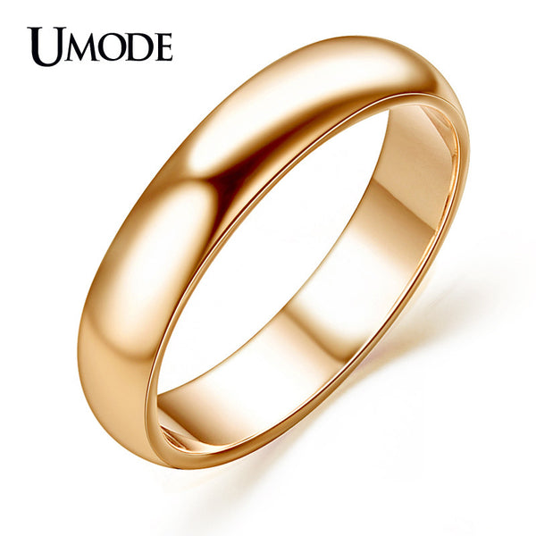 UMODE For Man and Woman Aneis Rose Gold Color Anillos Mujer Anelli High Polish Wedding band Classic rings JR0097A