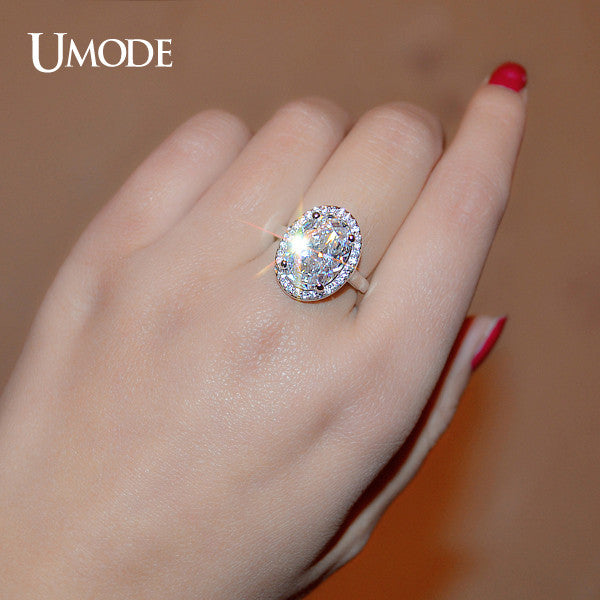 UMODE Gorgeous Halo Engagement Ring Stunning Ultra Big 6 Carat Oval Egg CZ and Micro Cubic Zirconia Fashion Wedding Ring UR0144