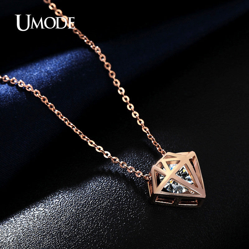 Umode hollow star shaped with a brilliant cut cubic zirconia stone umode hollow star shaped with a brilliant cut cubic zirconia stone necklaces rose gold color mozeypictures Image collections