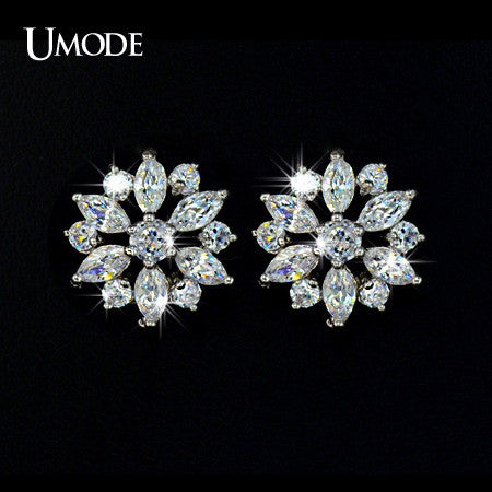 UMODE Luxury Round and Marquise cut Cubic Zirconia Stone Cluster Flower Stud Earring For Women Birthday Bijouterie UE0018