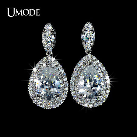 UMODE Pure Clear CZ Shiny Stone Tear Drop Earrings UE0045