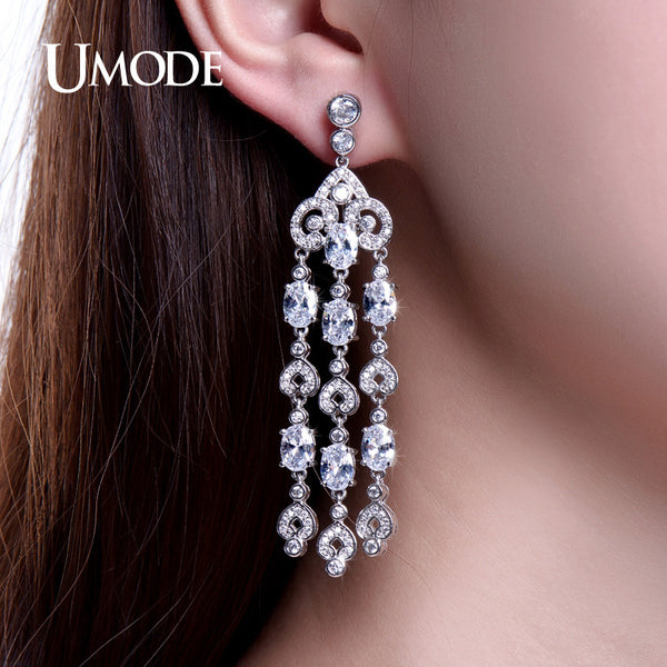 UMODE Stylish Retro Heart Designed Drop Earrings White Gold Color CZ Stones Long Dangle Earrings for Women Brinco UE0234