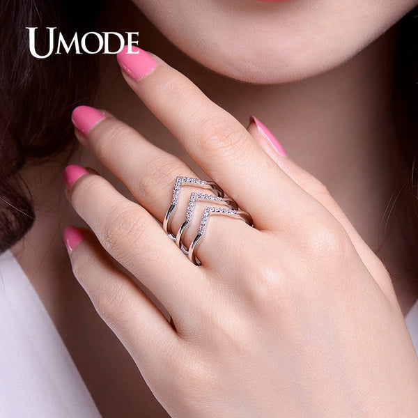 UMODE Trendy Two Colors Adjustable Micro CZ Crystal Chevron Pave Rings Gold / White Gold Color Jewelry for Women Anel New UR0360