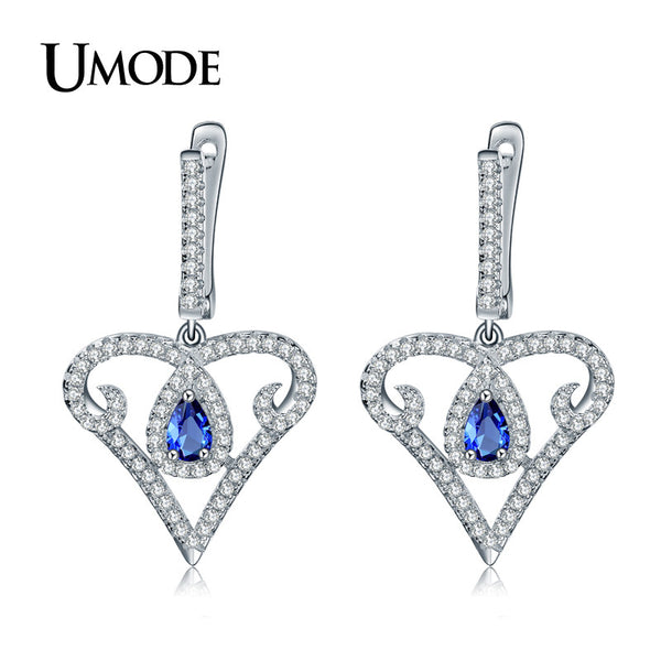 UMODE Vintage Heart Design 925 Sterling Silver 5x3mm 0.25ct CZ Cubic Zirconia Drop Earrings for Women Boucle D'oreille YE0031