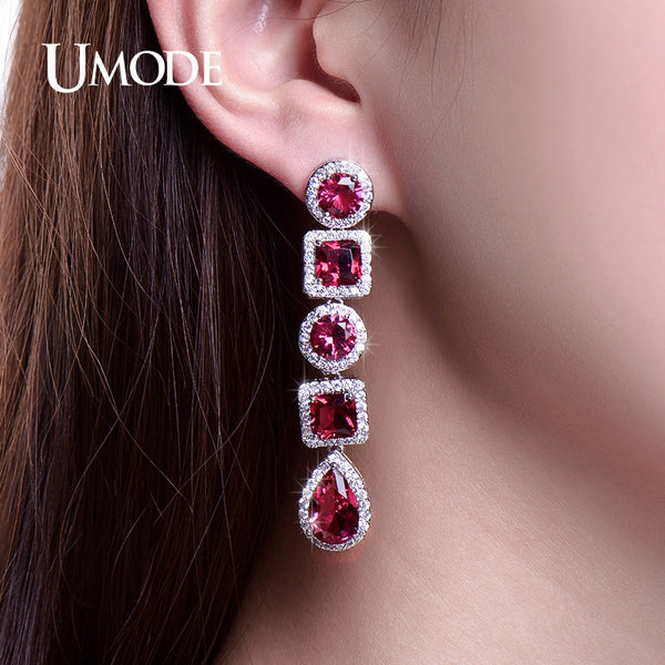 UMODE Vivid Long Drop Earrings Bloody Stones Jewelry Dangle Earings Women Birthday Gifts Wedding Accessories Bijoux UE0251A