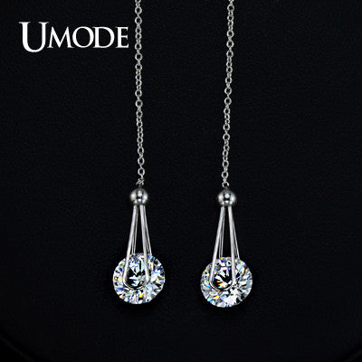 7e539c3ccc4 UMODE White Gold Color 2 carat AAA+ Cubic Zircon Cubic Zirconia Drop Line  Long Earrings For